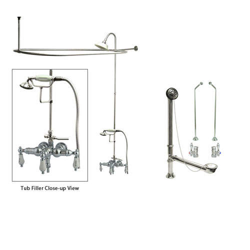 chrome clawfoot tub faucet shower kit with enclosure curtain rod 22t1cts