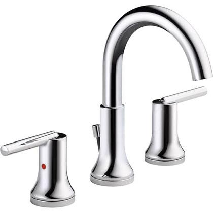 Delta Trinsic Modern Chrome Finish Widespread High Arc Bathroom Faucet 614922
