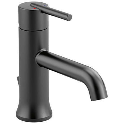Delta Trinsic Collection Matte Black Finish Single Handle Modern 1 or 3 Hole Installation Bathroom Sink Lavatory Faucet with Metal Pop-Up D559LFBLMPU