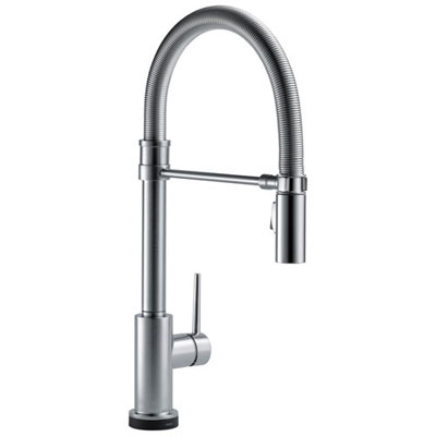 Delta Trinsic Collection Arctic Stainless Steel Finish One Handle Pull-Down Spring Spout Electronic Kitchen Sink Faucet with Touch2O Technology 739276