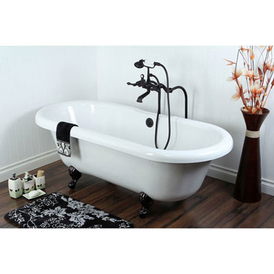 67-inch Clawfoot Tub with Freestanding Oil Rubbed Bronze Tub Faucet Package CTP55