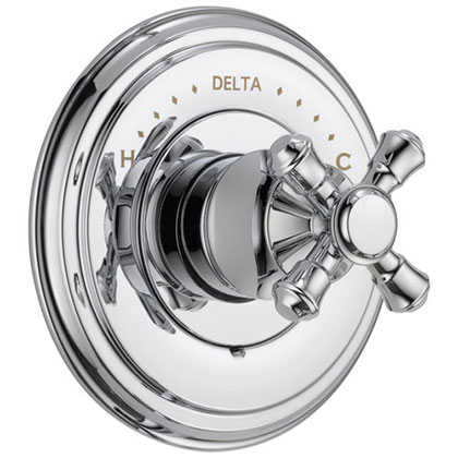 Delta Cassidy Collection Chrome Finish Monitor 14 Series Shower Faucet Control COMPLETE ITEM with Single Cross Handle and Rough-in Valve without Stops D1598V