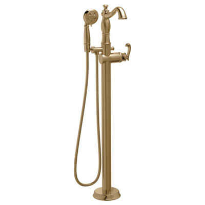 Delta Cassidy Freestanding Floor-Mount Tub Filler Faucet with Sprayer in Champagne Bronze INCLUDES Single French Curve Lever Handle and Rough-in Valve D2568V
