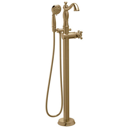 Delta Cassidy Freestanding Floor-Mount Tub Filler Faucet with Sprayer in Champagne Bronze INCLUDES Single Cross Handle and Rough-in Valve D2569V