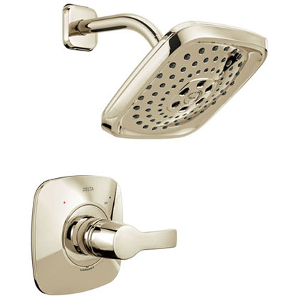 Delta Tesla H2Okinetic 1-Handle Shower Faucet in Polished Nickel Includes Rough-in Valve without Stops D2586V