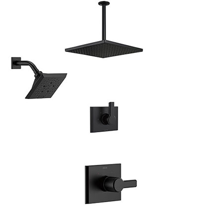 Delta Pivotal Matte Black Finish Modern Angular Shower System with Large Ceiling Mount Rain Showerhead and Multi-setting Wall Shower Head SS142993BL1