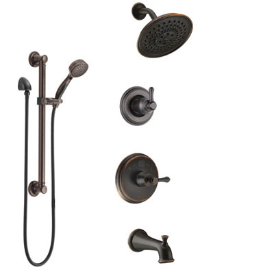 Delta Cassidy Venetian Bronze Tub and Shower System with Temp2O Control, 3-Setting Diverter, Showerhead, and Hand Shower with Grab Bar SS14400RB3