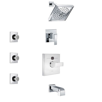 Delta Ara Chrome Finish Tub and Shower System with Temp2O Control Handle, 3-Setting Diverter, Showerhead, and 3 Body Sprays SS144011
