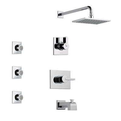 Delta Vero Chrome Finish Tub and Shower System with Control Handle, 3-Setting Diverter, Showerhead, and 3 Body Sprays SS1445321