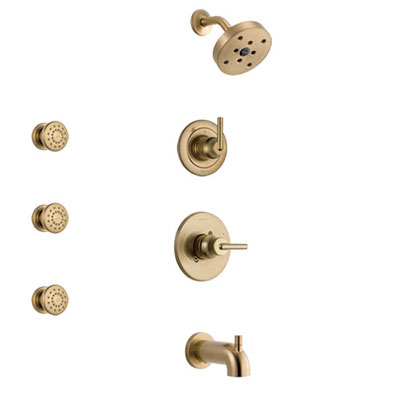 Delta Trinsic Champagne Bronze Finish Tub and Shower System with Control Handle, 3-Setting Diverter, Showerhead, and 3 Body Sprays SS14459CZ1