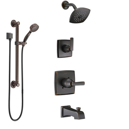 Delta Ashlyn Venetian Bronze Tub and Shower System with Control Handle, 3-Setting Diverter, Showerhead, and Hand Shower with Grab Bar SS14464RB3