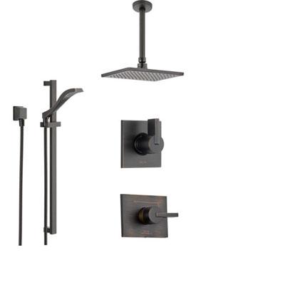 Delta Vero Venetian Bronze Shower System with Normal Shower Handle, 3-setting Diverter, Large Modern Ceiling Mount Rain Showerhead, and Handheld Shower SS145383RB