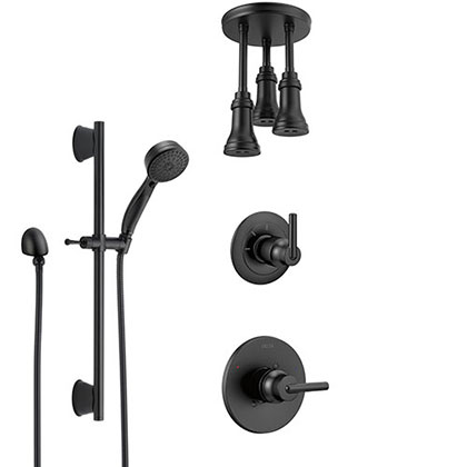 Delta Trinsic Matte Black Finish Shower System and Diverter with Triple Pendant Ceiling Mount Showerhead and Hand Sprayer with Slidebar SS1459BL11