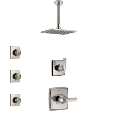 Delta Ashlyn Stainless Steel Finish Shower System with Control Handle, 3-Setting Diverter, Ceiling Mount Showerhead, and 3 Body Sprays SS1464SS3