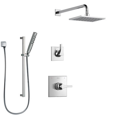 Chrome Finish Shower Systems with Showerhead and Hand Shower Sprayer