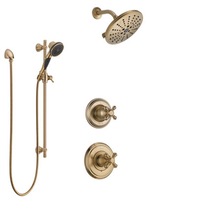 Delta Cassidy Champagne Bronze Finish Shower System with Control Handle, 3-Setting Diverter, Showerhead, and Hand Shower with Slidebar SS14971CZ5