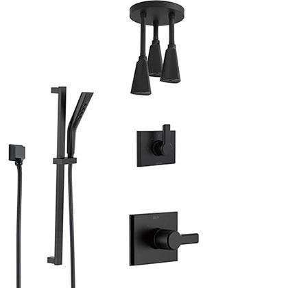 Delta Pivotal Matte Black Finish Modern Shower System with Triple Pendant Ceiling Mount Showerhead Fixture and Slidebar Hand Sprayer Kit SS14993BL11