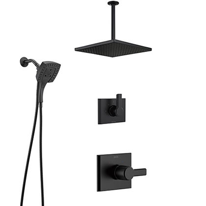 Delta Pivotal Matte Black Finish Modern Shower Faucet System with Large Square Ceiling Mount Rain Showerhead and In2ition Hand Sprayer SS14993BL9