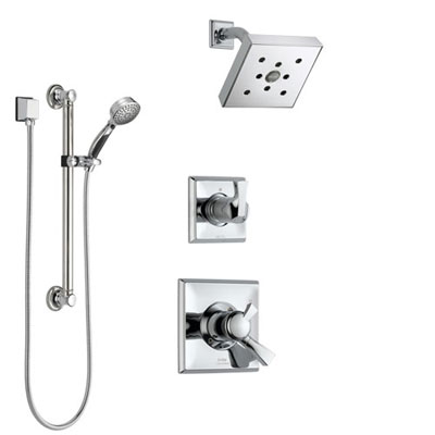 Delta Dryden Chrome Finish Shower System with Dual Control Handle, 3-Setting Diverter, Showerhead, and Hand Shower with Grab Bar SS1725124