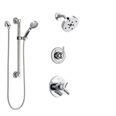 Delta Trinsic Chrome Finish Shower System with Dual Control Handle, 3-Setting Diverter, Showerhead, and Hand Shower with Grab Bar SS1725913