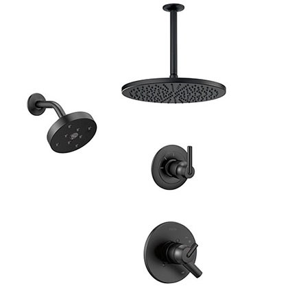 Delta Trinsic Matte Black Finish Modern Round Shower System with Large Overhead Ceiling Rain Showerhead and Wall Mount Showerhead SS172593BL1