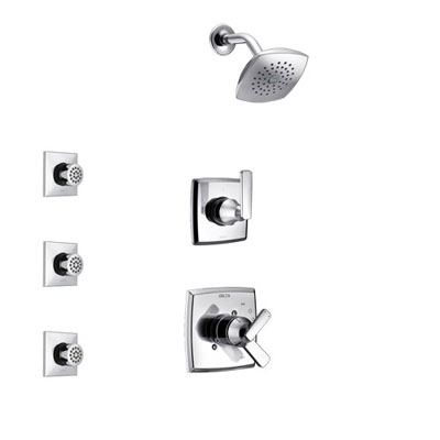 Delta Ashlyn Chrome Finish Shower System with Dual Control Handle, 3-Setting Diverter, Showerhead, and 3 Body Sprays SS172641