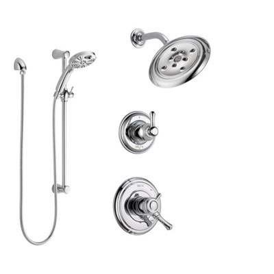 Delta Cassidy Chrome Finish Shower System with Dual Control Handle, 3-Setting Diverter, Showerhead, and Temp2O Hand Shower with Slidebar SS172974