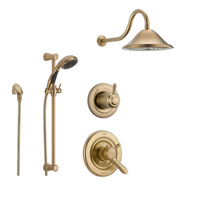 Delta Lahara Champagne Bronze Shower System with Dual Control Shower Handle, 3-setting Diverter, Large Rain Showerhead, and Handheld Shower SS173881CZ
