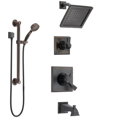 Delta Dryden Venetian Bronze Tub and Shower System with Dual Control Handle, 3-Setting Diverter, Showerhead, and Hand Shower with Grab Bar SS174511RB3