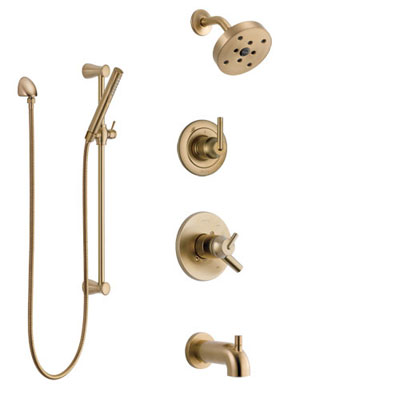 Delta Trinsic Champagne Bronze Tub and Shower System with Dual Control Handle, Diverter, Showerhead, and Hand Shower with Slidebar SS17459CZ2