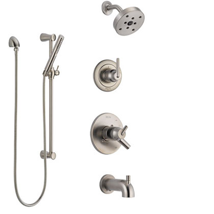 Delta Trinsic Stainless Steel Finish Tub and Shower System with Dual Control Handle, Diverter, Showerhead, and Hand Shower with Slidebar SS17459SS5