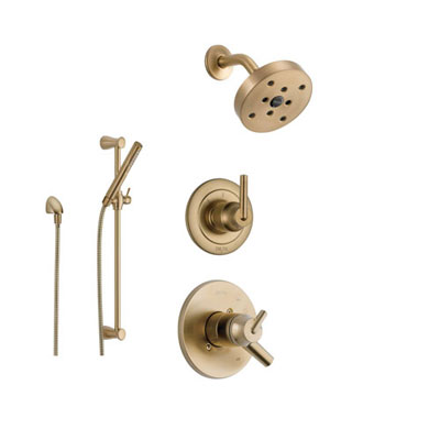 Champagne Bronze Finish Shower Systems with Showerhead and Hand Shower Sprayer