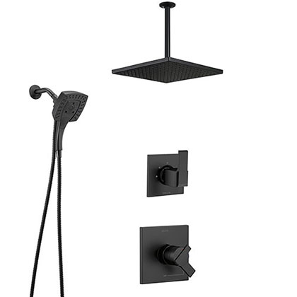 Delta Ara Matte Black Finish Dual Control Shower System with Diverter, Large Ceiling Mount Showerhead, and In2ition Detachable Hand Shower SS17673BL9