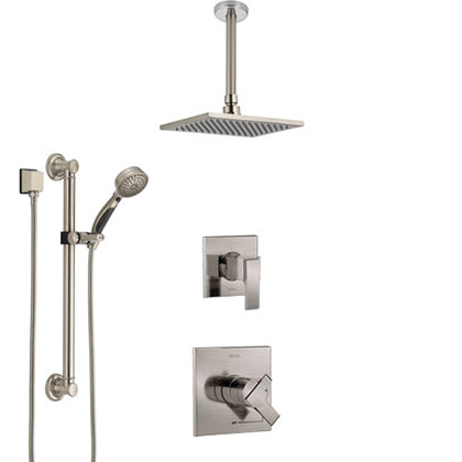 Delta Ara Stainless Steel Finish Shower System with Dual Control Handle, Diverter, Ceiling Mount Showerhead, and Hand Shower with Grab Bar
