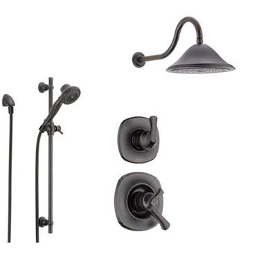 Delta Addison Venetian Bronze Shower System with Dual Control Shower Handle, 3-setting Diverter, Large Rain Shower Head, and Handheld Shower Spray SS179281RB
