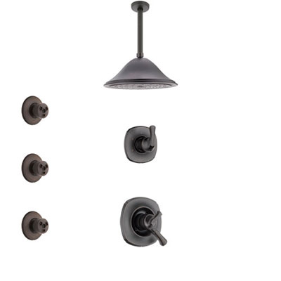 Delta Addison Venetian Bronze Finish Shower System with Dual Control Handle, 3-Setting Diverter, Ceiling Mount Showerhead, and 3 Body Sprays SS1792RB3
