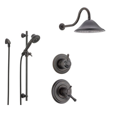 Delta Cassidy Venetian Bronze Shower System with Dual Control Shower Handle, 3-setting Diverter, Large Rain Shower Head, and Handheld Shower Spray SS179782RB
