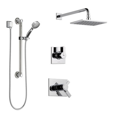 Delta Vero Chrome Finish Shower System with Dual Thermostatic Control Handle, 3-Setting Diverter, Showerhead, and Hand Shower with Grab Bar SS17T25313