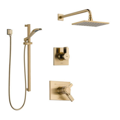 Delta Vero Champagne Bronze Shower System with Dual Thermostatic Control Handle, Diverter, Showerhead, and Hand Shower with Slidebar SS17T2531CZ2