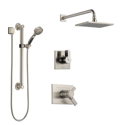 Delta Vero Dual Thermostatic Control Handle Stainless Steel Finish Shower System, Diverter, Showerhead, and Hand Shower with Grab Bar SS17T2531SS3