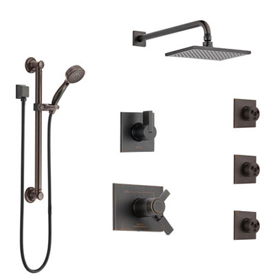 Delta Vero Venetian Bronze Shower System with Dual Thermostatic Control, Diverter, Showerhead, 3 Body Sprays, and Grab Bar Hand Shower SS17T2533RB2