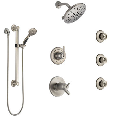 Delta Trinsic Dual Thermostatic Control Stainless Steel Finish Shower System, Diverter, Showerhead, 3 Body Sprays, Grab Bar Hand Spray SS17T2591SS2