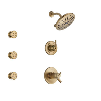 Delta Trinsic Champagne Bronze Shower System with Dual Thermostatic Control Handle, 3-Setting Diverter, Showerhead, and 3 Body Sprays SS17T2592CZ1