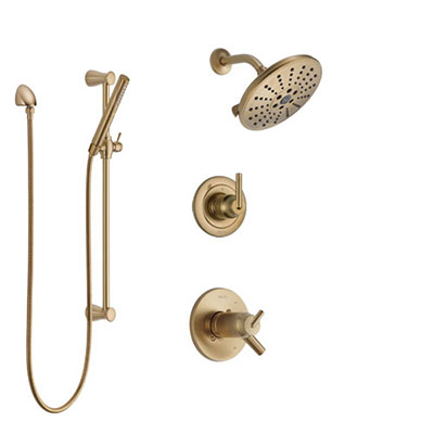 Delta Trinsic Champagne Bronze Shower System with Dual Thermostatic Control Handle, Diverter, Showerhead, and Hand Shower with Slidebar SS17T2592CZ2
