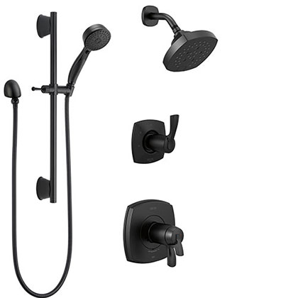 Delta Stryke Matte Black Finish Modern Thermostatic Shower System with Multi-Setting Showerhead and Slide Bar Hand Shower SS17T2763BL3
