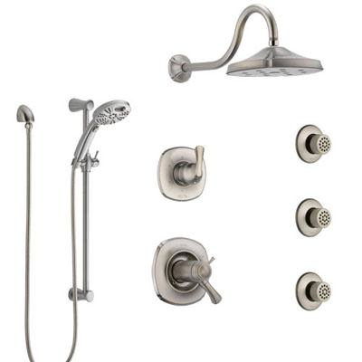 Delta Addison Dual Thermostatic Control Stainless Steel Finish Shower System, Diverter, Showerhead, 3 Body Sprays, and Temp2O Hand Shower SS17T2922SS6