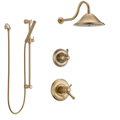 Delta Cassidy Champagne Bronze Shower System with Dual Thermostatic Control Handle, Diverter, Showerhead, and Hand Shower with Slidebar SS17T2971CZ2