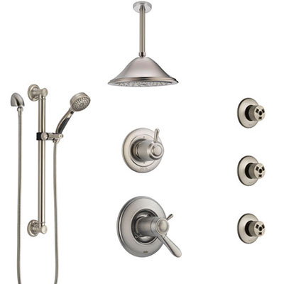 Delta Lahara Dual Thermostatic Control Stainless Steel Finish Shower System with Ceiling Showerhead, 3 Body Jets, Grab Bar Hand Spray SS17T382SS6