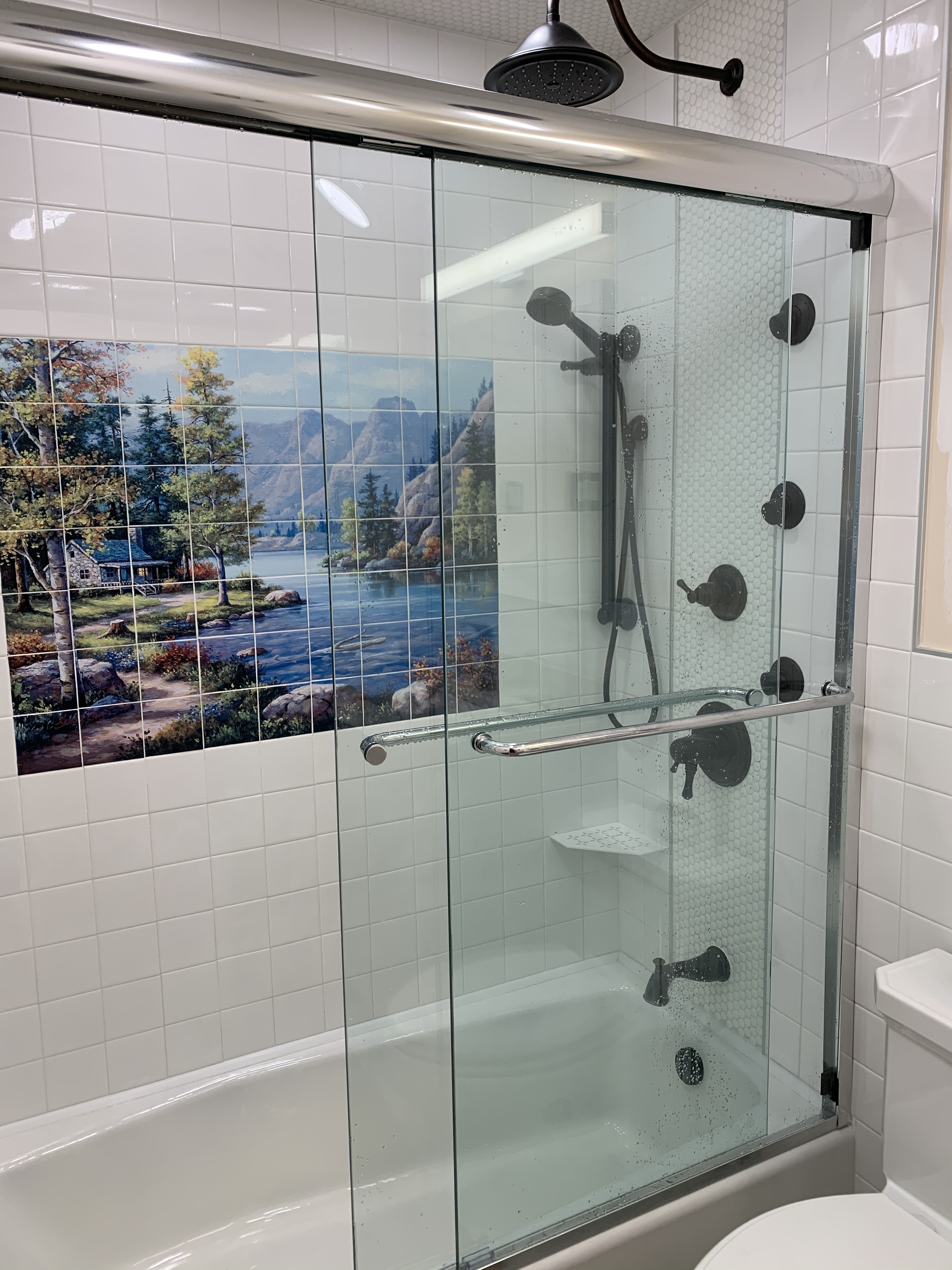 SS17T4971RB1 Delta Cassidy Tub Shower System with Hand Shower and Body Sprays plus Rain Showerhead
