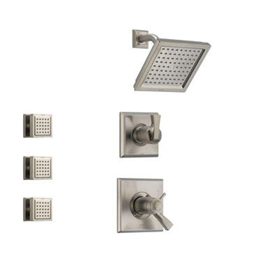 Delta Dryden Stainless Steel Shower System with Thermostatic Shower Handle, 3-setting Diverter, Modern Square Showerhead, and 3 Body Sprays SS17T5181SS